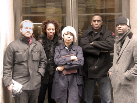 The Keepers of The Biggie Belt. From left: Thomas Golianopolous, Kimberly Burgess Wilson, Aliya S. King, Joel Randell, Jermaine Hall. Shot exclusively for aliyasking.wordpress.com on March 9, 2009 at 9:35 AM. photo credit: Antonio Thompson.