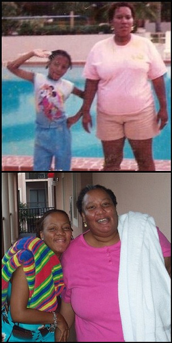My mother, Daisy, has taught me so very much about being a strong, educated black woman, as well as the importance of family fun and quality time. The photo depicts my mom and I experiencing our favorite place, Walt Disney World. The top photo is of us at the pool back in the 80s and the bottom photo depicts my joy (and her pride) when I was able to show my appreciation and bring her to Disney in 2005. Though my mom struggles with many issues, WDW allows us to forget them all and just relax, even if it's just for a week.