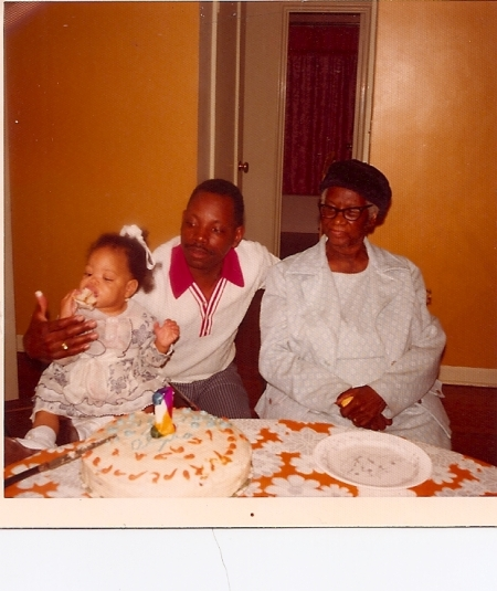 Me on my first day. With my dad, Robert E. King. And My great-grandmother Mozell Crawford.